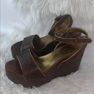 Prada wooden platform and leather sandals size 38